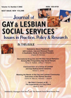 Journal of Gay & Lesbian Social Services. Volume 14, Number 4 / 2002