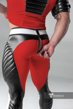 "Штаны - леггинсы ""Armored - Men's Fetish Leggings With Zipped Rear - Red"""
