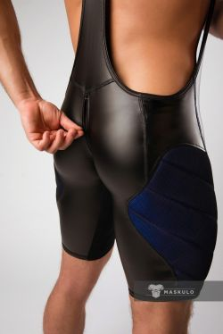 "Боди ""Armored - Color-Under Men's Fetish Wrestling Singlet With Zipped Rear - Royal Blue"""